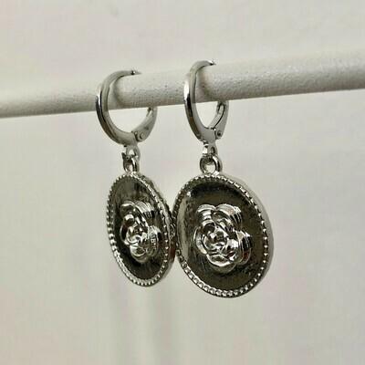 Rose coin oorbellen zilver