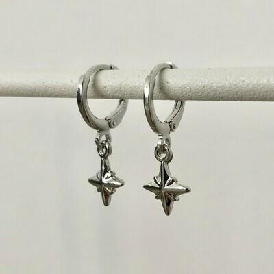 3D sterren oorbellen zilver