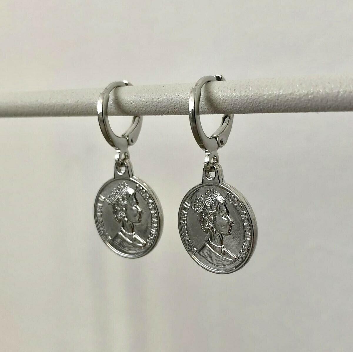 Coin oorbellen zilver