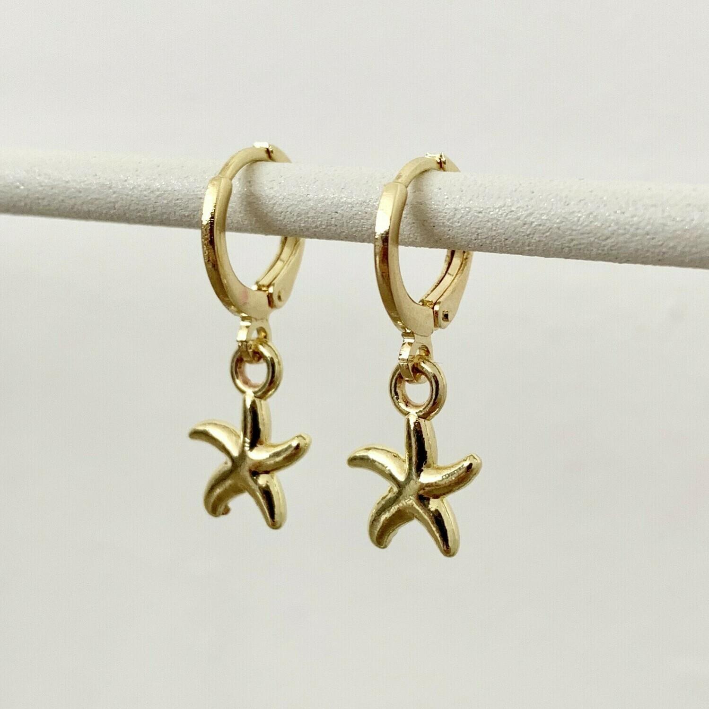 Zeester oorbellen goud