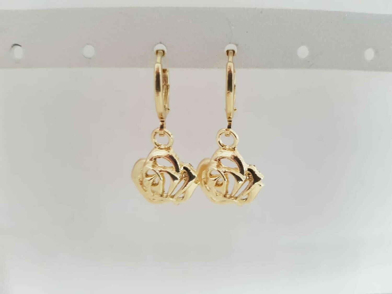 3D rose oorbellen goud