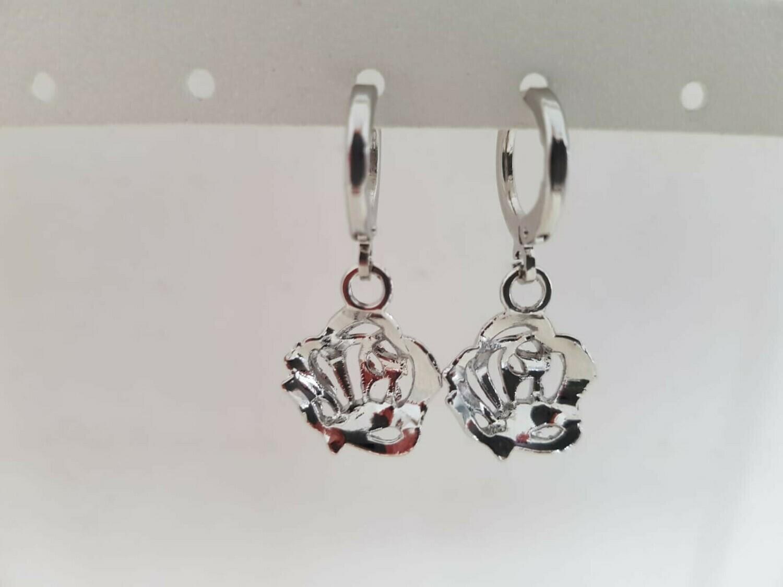 3D rose oorbellen zilver