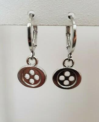 Mini button oorbellen zilver