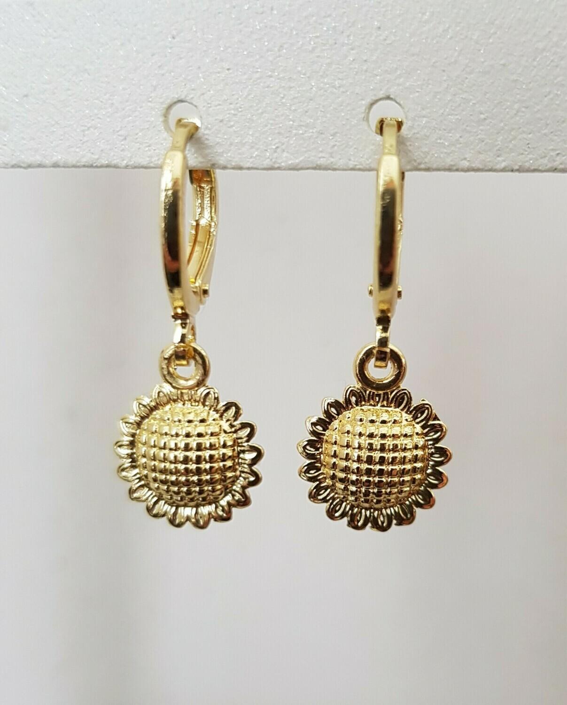 Mini sunflower oorbellen goud