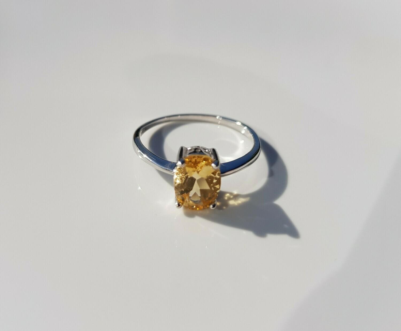 Geel Citrine ring 925 sterling zilver