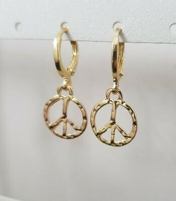 Peace sign oorbellen goud