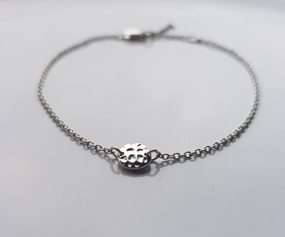 One bead armband zilver