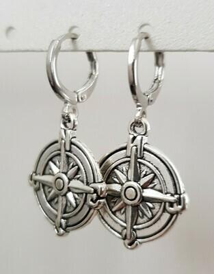 Kompas star oorbellen zilver