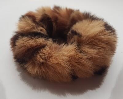 Fluffy scrunchie licht/donkerbruin
