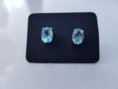 Blauw Topazs oorbellen 925 sterling zilver