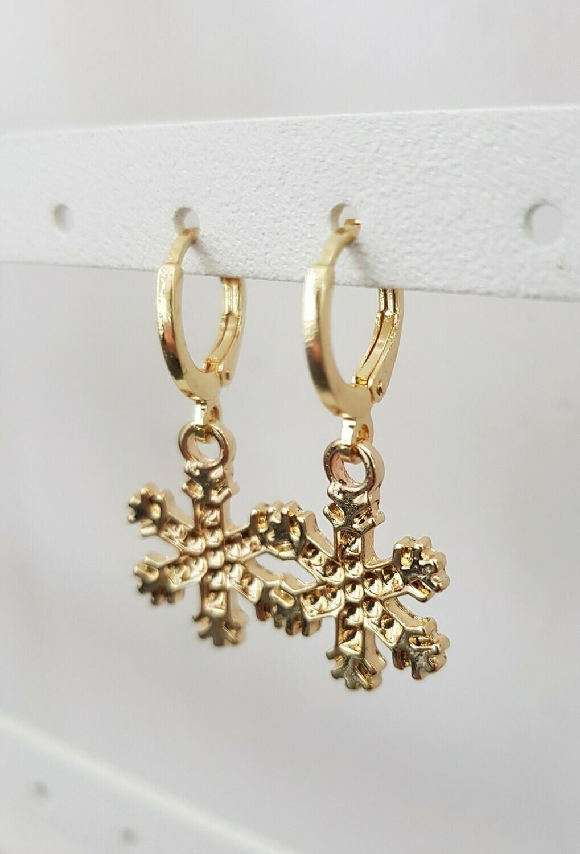 Sneeuwvlok oorbellen goud