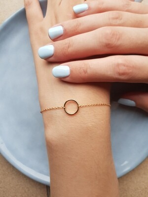 Open circle armband 925 sterling zilver (goud laagje)