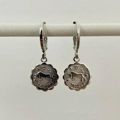 Sterrenbeeld oorbellen Stier zilver