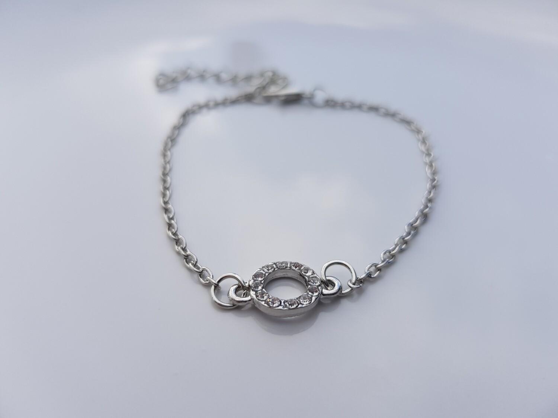 Open coin armband zilver