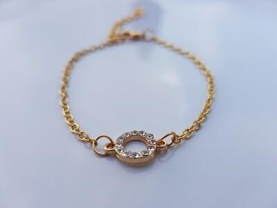 Open coin armband goud