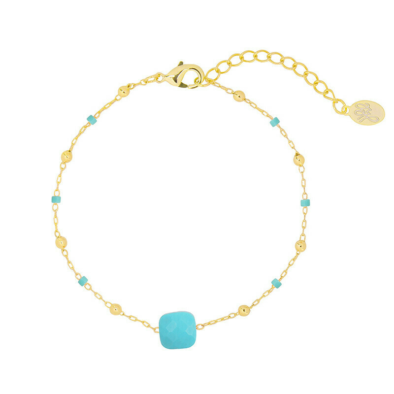Shiny stone armband goud