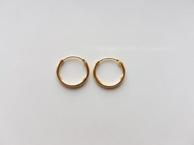 Oorringetjes 10mm goud 925 sterling zilver/gold plated