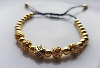 Different beads armband goud