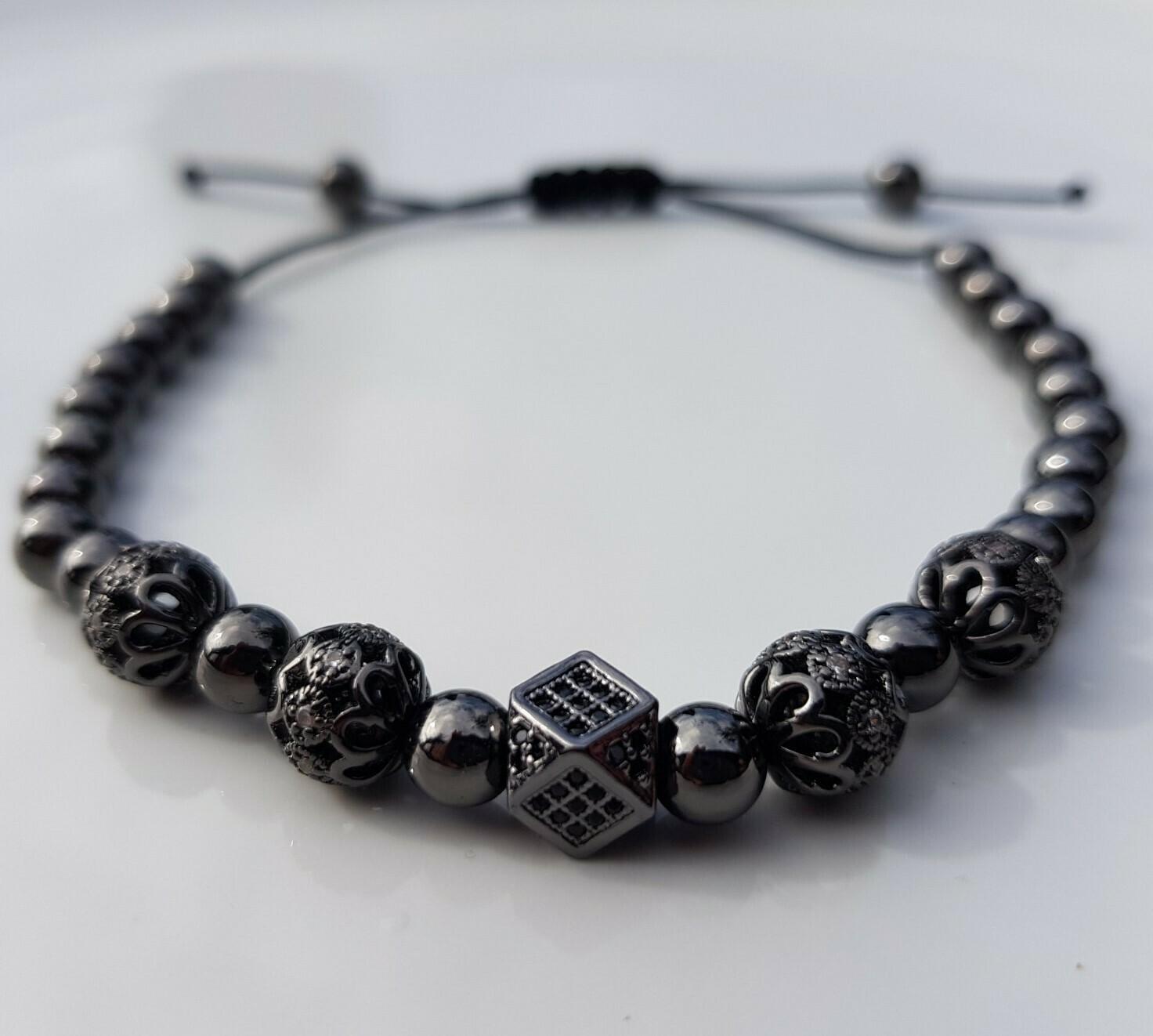 Different beads armband zwart