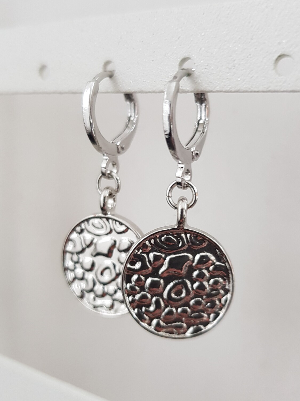 Panter print coin oorbellen zilver