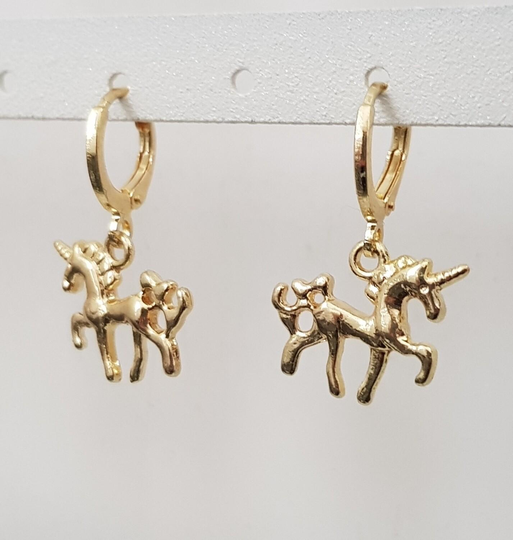 Unicorn oorbellen goud