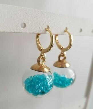 Christal bol met steentjes oorbellen 5 kleuren