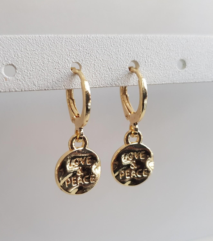 Mini love en peace oorbellen goud