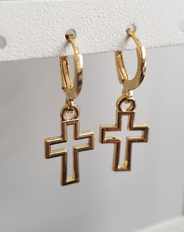 Cross in cross oorbellen goud