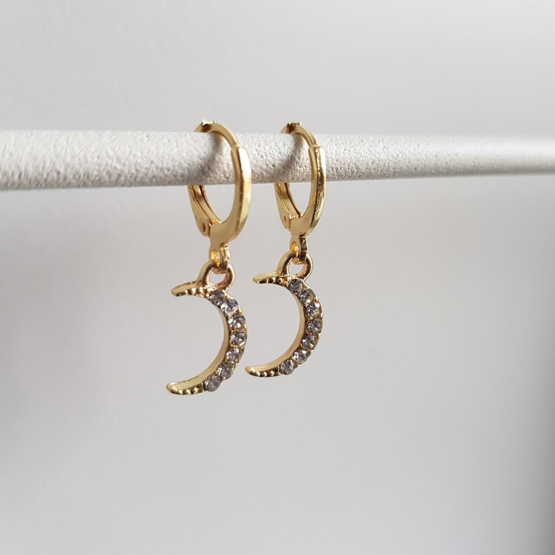 Shiny maan met strass steentjes oorbellen goud
