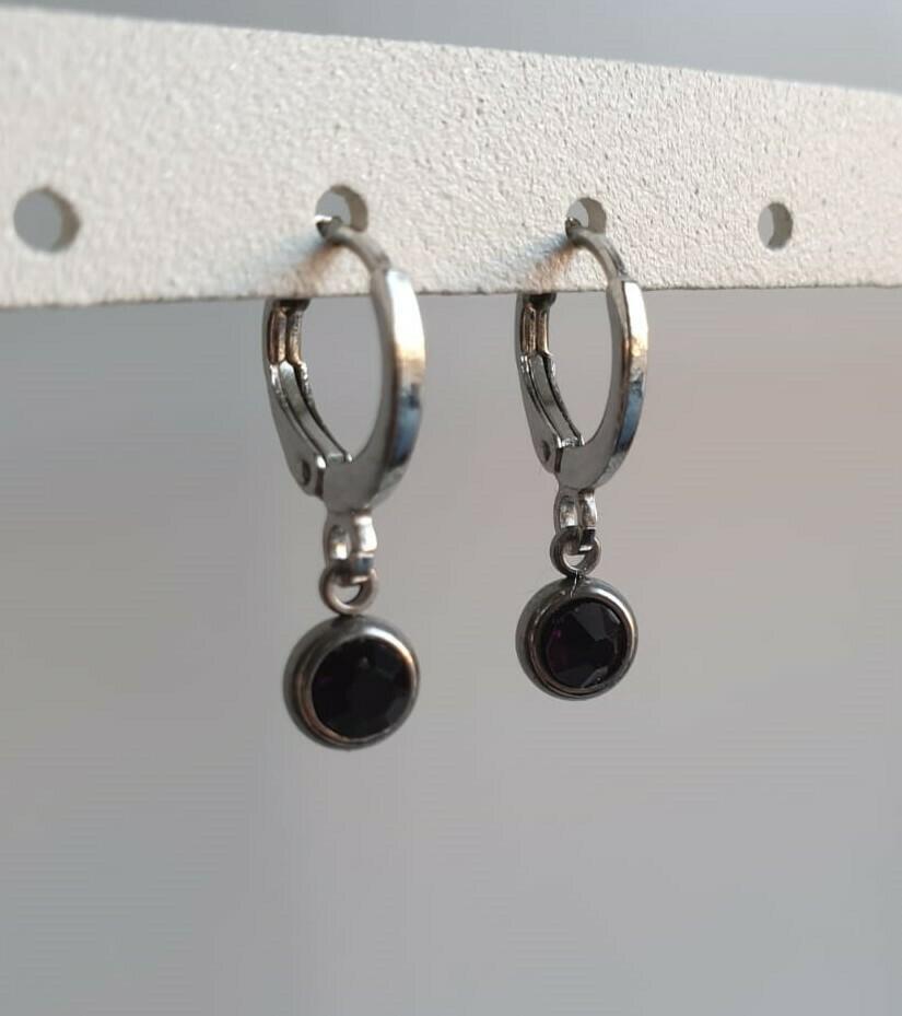 Tiny stone oorbellen zilver 6 kleuren
