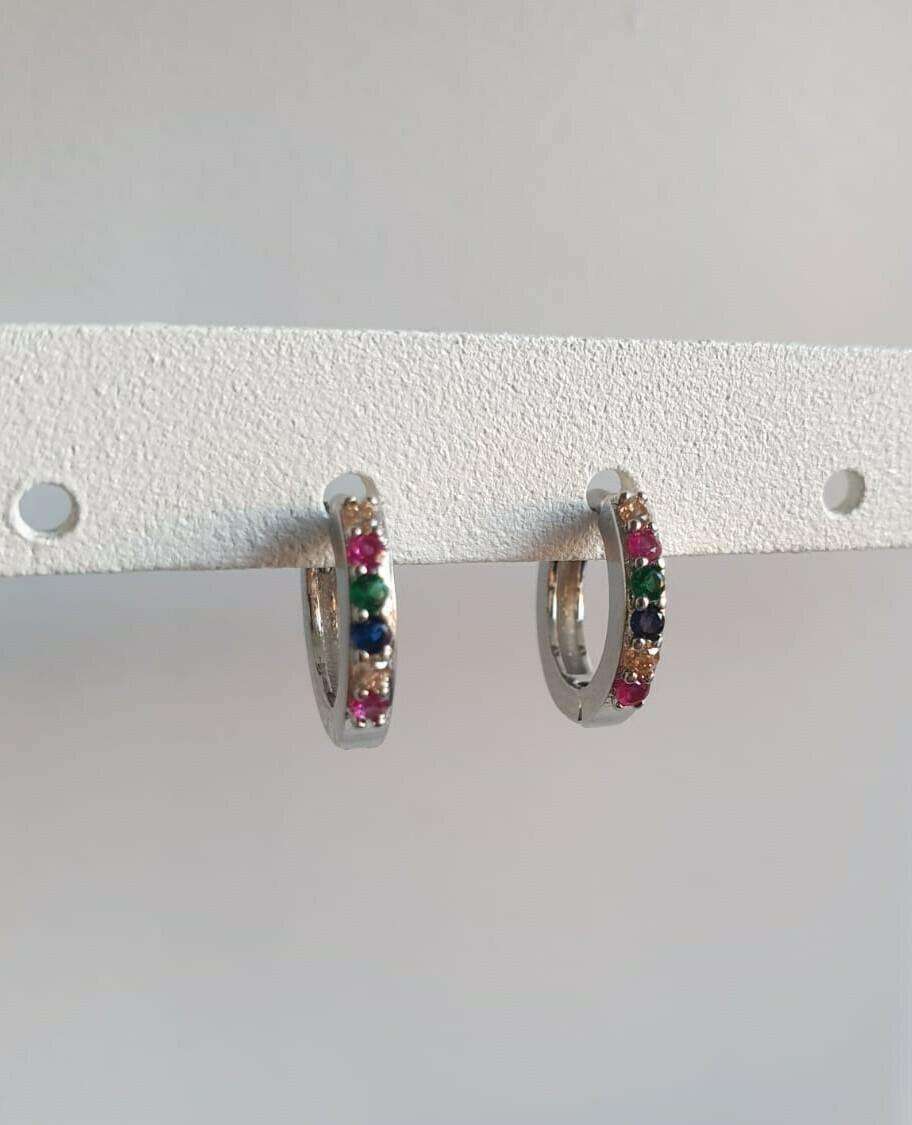 Tiny oorringetjes zilver met steentjes 6 kleuren