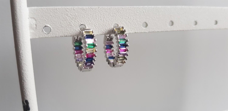 Regenboog oorbellen zilver