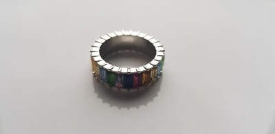 Colorful ring zilver