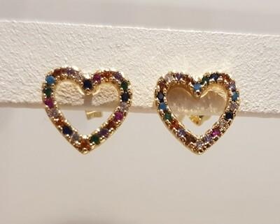 Mini open hartjes colorful knopjes goud