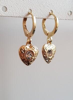 Hartjes oorbellen diamant steen goud