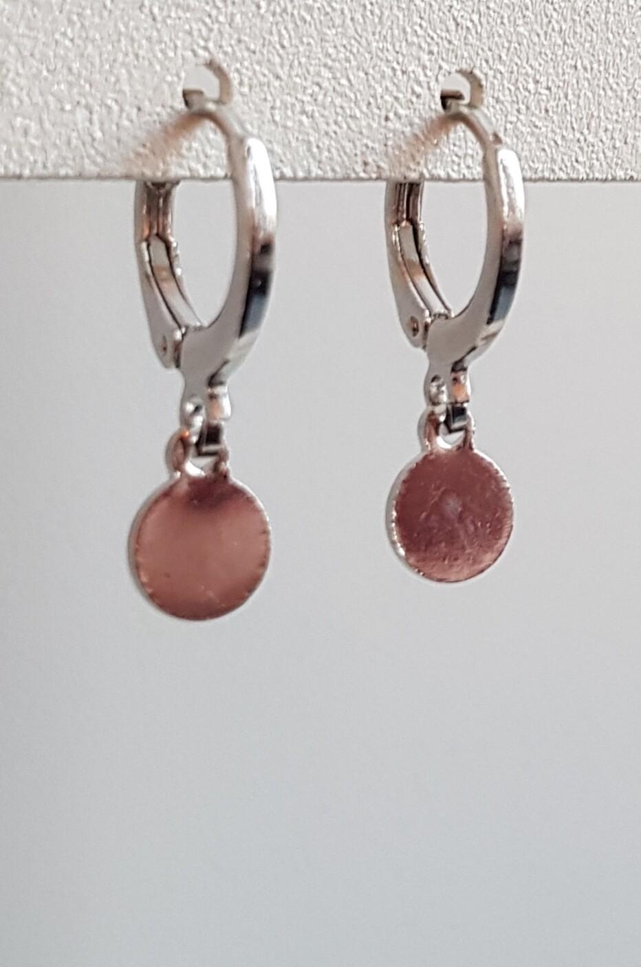 Tiny coin oorbellen zilver