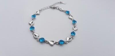 Hartjes armbandje met steentjes blauw/zilver