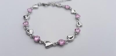 Hartjes armbandje met steentjes roze/zilver