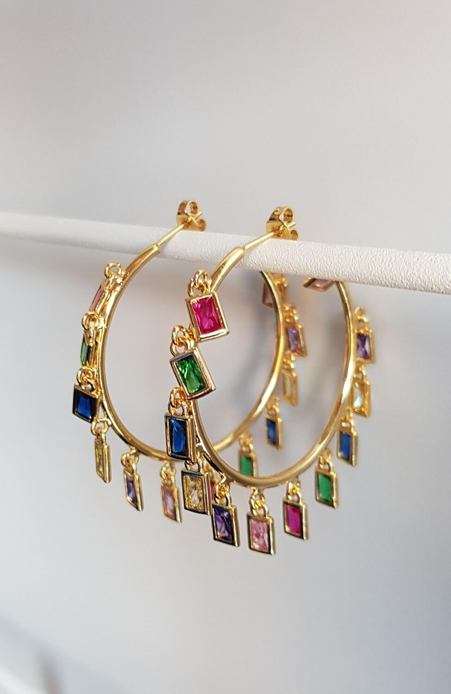 Gekleurde steentjes oorringen goud