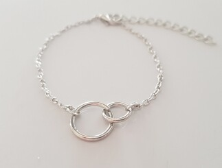 2 circle armband zilver