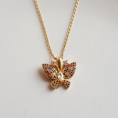 Colorful vlinder ketting goud
