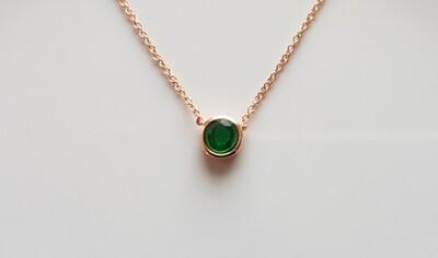 Dotje halsketting met groen steentje roségoud