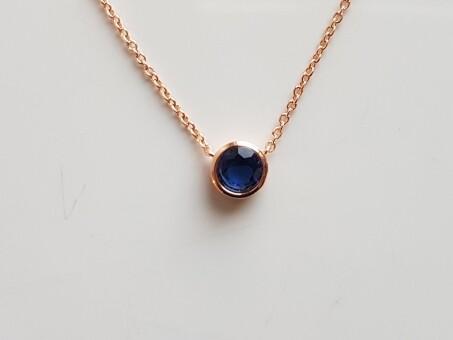 Dotje halsketting met blauw steentje roségoud