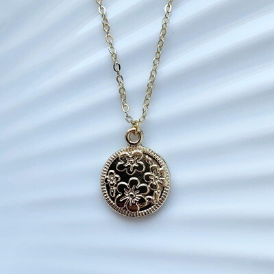 Flower coin ketting goud