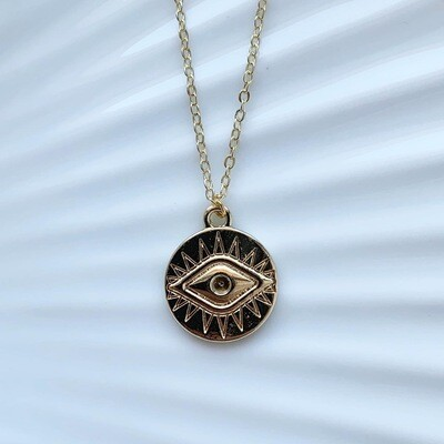 Eye coin ketting goud
