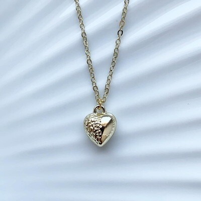 Mini 3D heart ketting goud