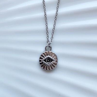 Mini eye coin ketting zilver