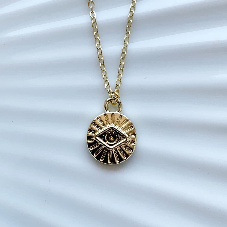 Mini eye coin ketting goud