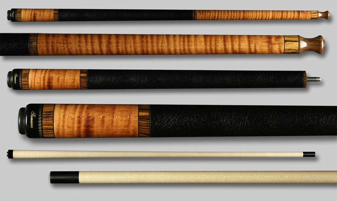 Samsara Break Cue - Stained Curly / Ebonized Wrap