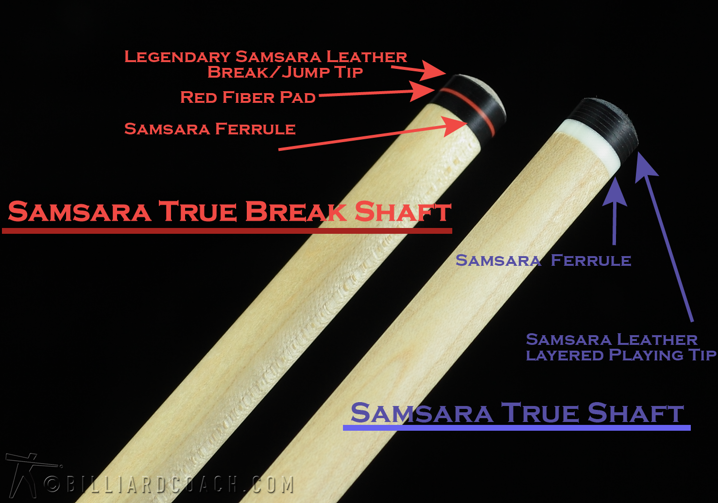Samsara Break Cue - Stained Curly Maple / Black Leather Wrap